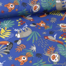 Tissu Coton Oeko tex imprimé Perroquets et Paresseux fond Bleu