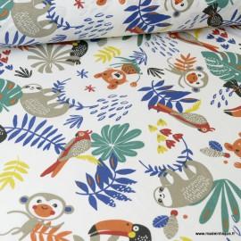 Tissu Coton Oeko tex imprimé Perroquets et Paresseux bleu et fauve