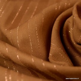 Tissu viscose à rayures Lurex Folie's coloris Camel