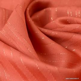 Tissu viscose à rayures Lurex Folie's coloris Corail