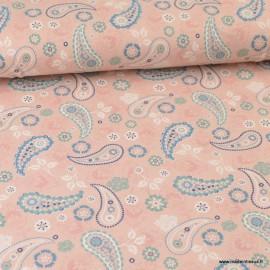 Tissu jersey Oeko tex motifs Cachemires fond rose - Oeko tex
