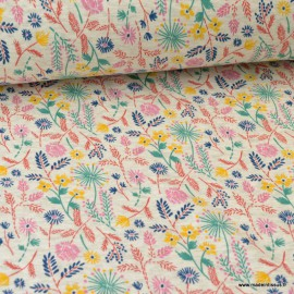 Tissu Sweat envers Minky motifs Fleurs fond Ecru chiné