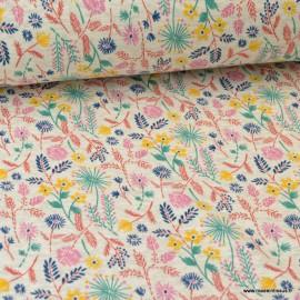 Tissu Sweat envers Minky motifs Fleurs fond Gris