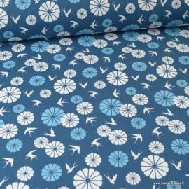 Tissu coton imprimé oiseaux et ronds Japonais. Oeko tex