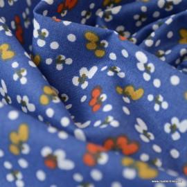 Tissu coton motifs Fleurs Fida bleu et paprika - Oeko tex