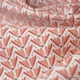 Tissu coton motif Marita Prune et Marsala - Oeko tex