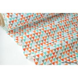tissu popeline coton imprimé  triangle multi indien .x1m