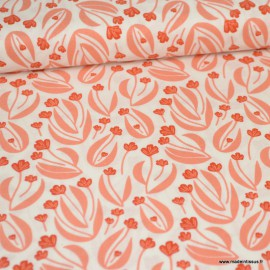 Tissu Bio coton CLOUD9 - Collection Stockbridge - fleurs corail