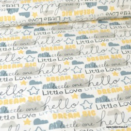 Tissu popeline motifs Nuages coll. Little Lion by 3 Wishes
