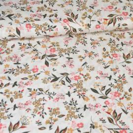 Tissu Viscose motif fleurs roses, ocre et kaki fond blanc
