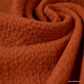 Tissu coton gaufré Coloris Rouille - Oeko tex