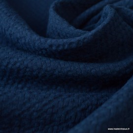 Tissu coton gaufré Coloris Bleu marine - Oeko tex