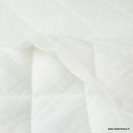 Tissu Matelassé Double Gaze Oeko tex - Blanc