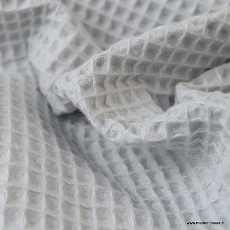 Tissu nid d'abeille Gris clair - Oeko tex