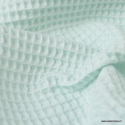 Tissu nid d'abeille Céladon - Oeko tex