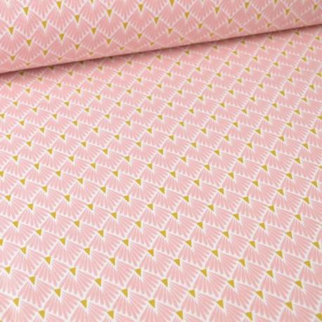 Tissu coton Enduit  imprimé écailles - Rose - Oeko tex