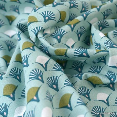 Tissu coton imprimé éventails écailles Céladon et Paon - Oeko tex