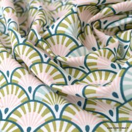 Tissu coton imprimé éventails écailles Bronze, rose et Paon - Oeko tex