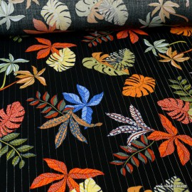 Tissu viscose Lurex feuilles de palme Lunaire coloris Noir