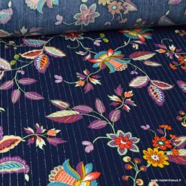 Tissu viscose Lurex fleurs violettes fond Marine