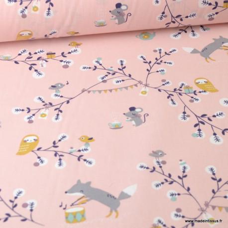 Tissu coton motif Watree souris et oiseaux fond rose - Oeko tex