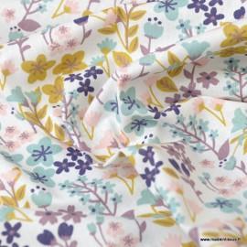 Tissu coton imprimé petites fleurs ocre, céladon et violine -  Oeko tex - Motif Milly