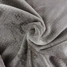 Tissu doudou à pois argent coloris Taupe - Oeko tex
