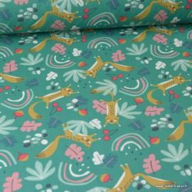 Tissu coton motif Loustic renards et arc en ciel fond vert - Oeko tex