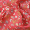 Tissu coton motif Lippy imprimé oiseaux fond grenadine - Oeko tex