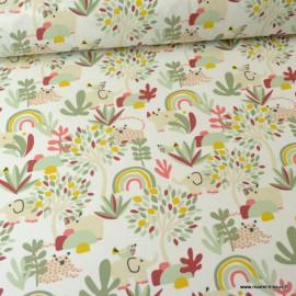 Tissu coton motif Cerza imprimé animaux et arbres - Oeko tex