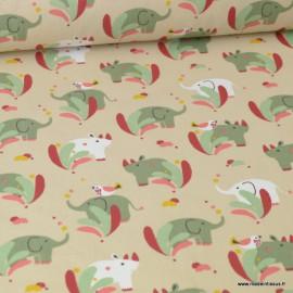 Tissu coton motif Sundara imprimé éléphants et oiseaux fond sable- Oeko tex