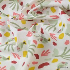 Tissu coton motif oiseaux et feuilles tilleul et rouille - Oeko tex