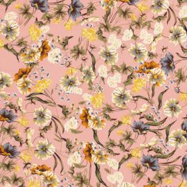 Tissu soft motifs fleurs sauvages fond rose