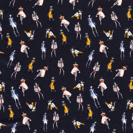 Tissu Viscose motifs Femme Fashion marine - Oeko tex
