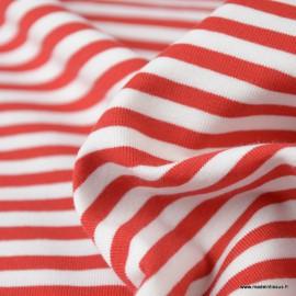 Tissu jersey à rayures type marinière Rouge et blanc - Oeko tex