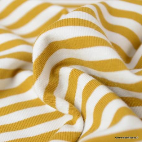 Tissu jersey à rayures Moutarde et blanc - Oeko tex