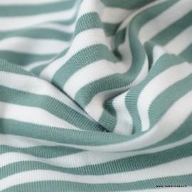 Tissu jersey à rayures  type marinière Menthe et blanc - Oeko tex
