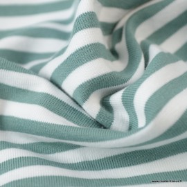 Tissu jersey à rayures Menthe et blanc - Oeko tex