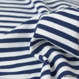 Tissu jersey à rayures type marinière marine et blanc - Oeko tex