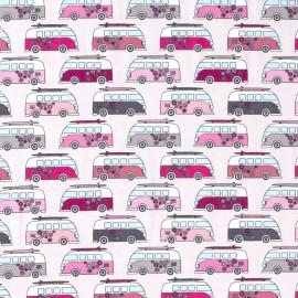 Tissu jersey motifs Vans Hippies rose fond Gris - Oeko tex