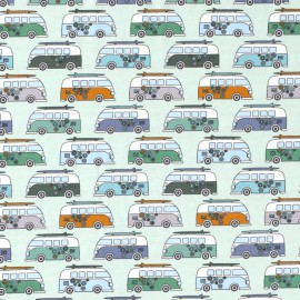 Tissu jersey motifs Vans Hippies fond Menthe - Oeko tex