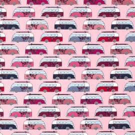 Tissu jersey motifs Vans Hippies Rose - Oeko tex
