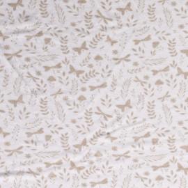 Tissu éponge motifs papillons et libellules beige fond blanc - oeko tex