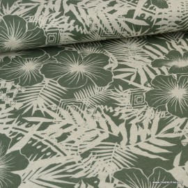 Tissu Jersey Viscose motif fleurs Kaki