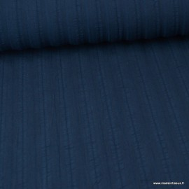 Tissu coton lavré à fines broderie coloris marine - Oeko tex