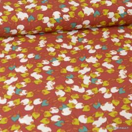 Tissu Viscose Kisnek motifs fleurs fond Pepper - Oeko tex