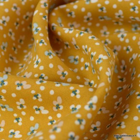 Tissu Viscose Fida motifs fleurs fond Ocre - Oeko tex