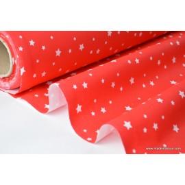 Tissu coton imprimé dessin étoiles multi rouge .x1m