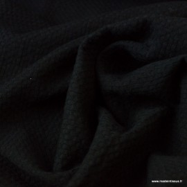 Tissu coton gaufré Coloris Noir - Oeko tex
