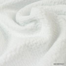 Tissu coton gaufré Coloris Blanc - Oeko tex